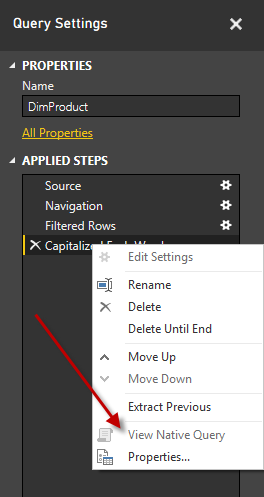 Power BI - Checking Query Folding with View Native Query